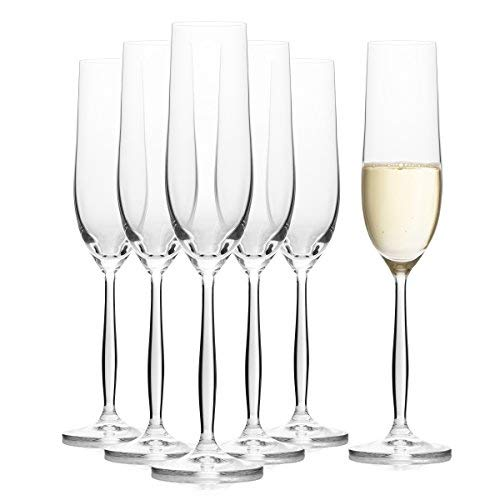Crystal Champagne Flutes Set of 6, Glasses for Wedding and Toasting, 100% Lead-Free, 6.42 Ounces (190ml)