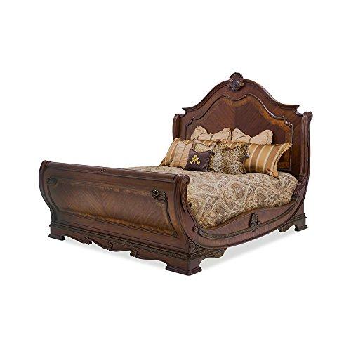 amazon com aico amini bella veneto queen sleigh bed in cognac rh amazon com