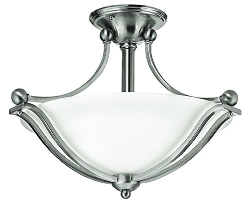 Hinkley 4651BN Transitional Two Light Semi-Flush Mount from Bolla collection in Pwt, Nckl, B/S, Slvr.finish, - Bolla Collection Outdoor Lantern