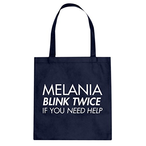 Tote Melania Blink Twice if You Need Help! Large Navy Blue Canvas Bag