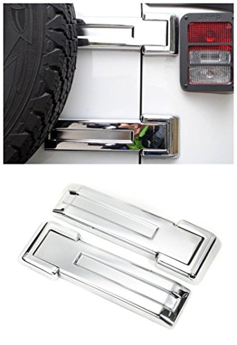 Spare Chrome Accessory Trim Tire (FMtoppeak 3Colors ABS Exterior Styling Rear Door Spare Tire Hinge Cover Trim For Jeep Wrangler 2007-2017 (Chrome))