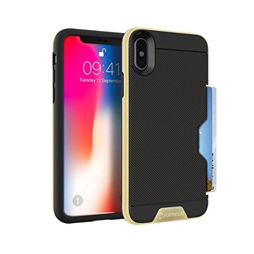 Coque iPhone X PORTHOLIC Portefeuille iPhoneX / iPhone 10 Case Avec Porte-Carte, Etui de Protection, Housse de TPU et PC pour iPhone x- Antichoc-Fente pour 2 cartes [Noir et Or]