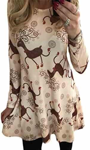 Cromoncent Women s Floral Printed Crewneck Xmas Casual Swing Pleated Midi  Dresses d453822b6
