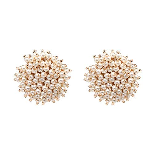 Ivory White Pink Pearl Black Champagne Faceted Glass Beads Beaded Charm Big Button Stud Earrings for Women (JURAN-50273) ()