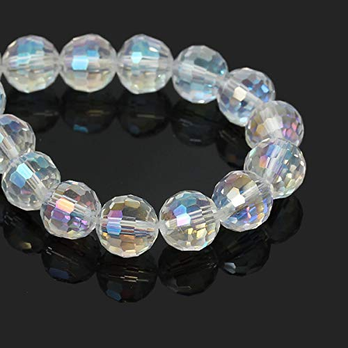 - 25 Faceted Clear AB Glass Crystal Beads 10mm bgl0876 Jewelry Making Supplies Set Crafts DIY Kit