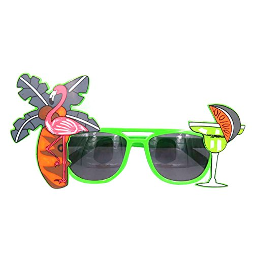Tinksky Tropical Hawaiian Flamingo Eyeglasses Coconut Tree Juice Eye Glasses for Luau Party Beach Gathering Beer Festival