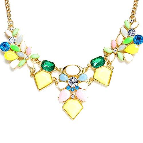 Molyveva Vintage Boho Bib Statement Necklace Women Fashion Collar Bohemia Indian Costume Jewelry Colorful (Yellow)