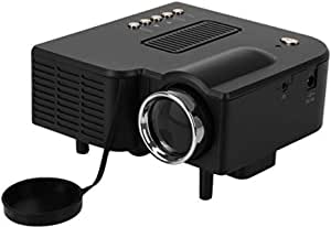 Portable Mini LED Projector Home Cinema Theater with AV VGA USB & HDMI for 80 Inch Cinema (Black)
