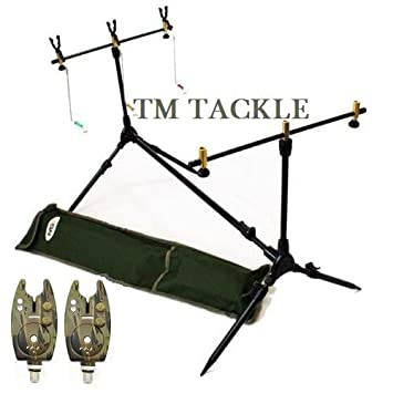 NGT - Juego de soporte para 3 cañas de pescar y 2 alarmas de ...
