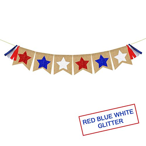 Red White Blue Stars Banner Garland - Patriotic Decorations 4th of July Decorations American Independence Day Home Outdoor Garden Garland - Patriotic Banner Garland Burlap]()