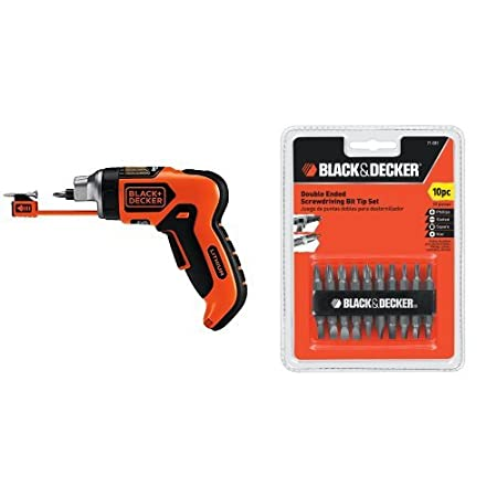 BLACK+DECKER LI4000 4-Volt Lithium-Ion SmartSelect Screwdriver with Magnetic Screw Holder with 15557 Drill Bit Set, 10-Piece