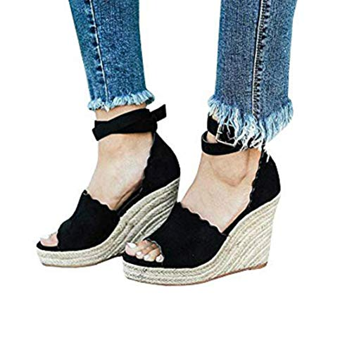 Liyuandian Womens Platform Espadrille Wedges Open Toe High Heel Sandals with Ankle Strap Buckle Up ()