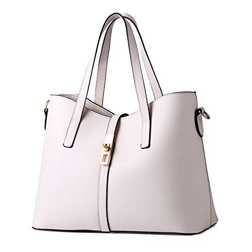 DELEY Frauen Mode Elegante Süßigkeiten-Farbe Tote Handtasche Schultertasche Office Tasche Beige