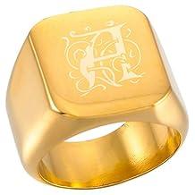MeMeDIY Gold Tone Stainless Steel Ring Signet - Customized Engraving