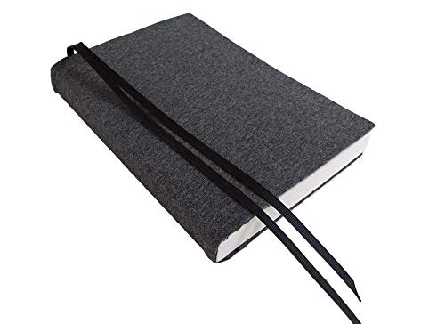 6 Inch Trade Size Paperback Book Cover in Dark Grey Heather Stretch Fabric Book Sleeve Small ()