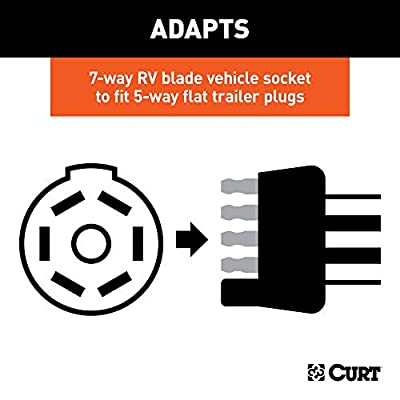 CURT 57281 5-Foot 7-Way RV Blade Vehicle-Side to 5-Way Flat Trailer Wiring Adapter Extension Harness: Automotive