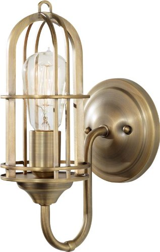 (Feiss WB1703DAB Urban Renewal Industrial Vintage Wall Sconce Lighting, Brass, 1-Light (6