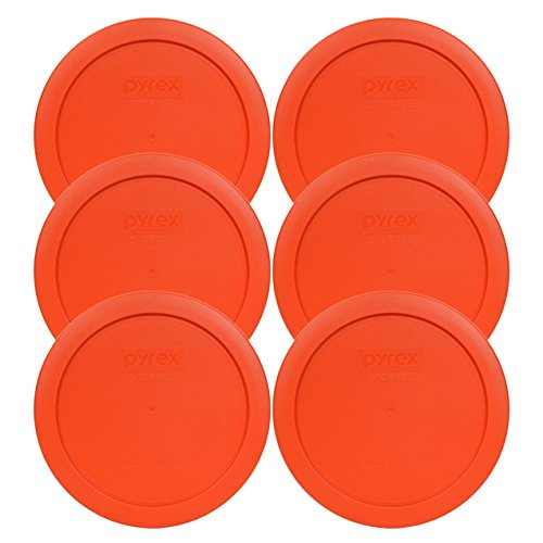 Pyrex 7201-PC Round 4 Cup Storage Lid for Glass Bowls (6, Pumpkin Orange)