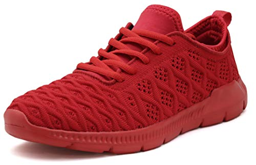 JOOMRA Tennis Shoes for Woman Lightweight Ladies Workout Fitness Breathable Walking Fashion Sneakers Red Size 8 (Best Ladies Tennis Shoes)