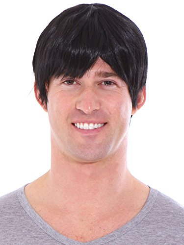 Simplicity Men's Short Layered Black Full Wig with Wig Cap -