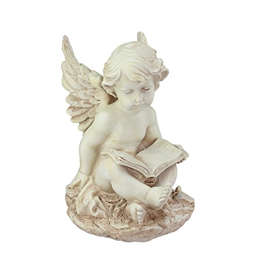 Northlight Heavenly Distressed Sitting Cherub Angel with Book Outdoor Patio Garden Statue 12