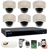 GW Security 8 Channel 5 Megapixel 5 in 1 DVR + 6 x HD-TVI 5MP 1920P Vari-Focal Zoom Outdoor/Indoor CCTV Dome Security Camera System with Pre-Installed 2TB Hard Drive