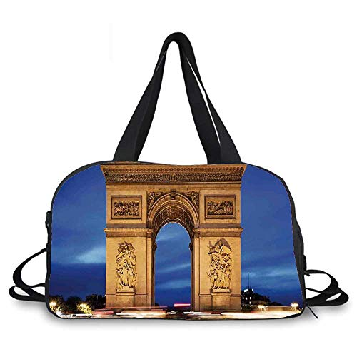 Paris Decor Personality Travel Bag,Arc de Triomphe Paris France at Night. View from Avenue des Champs Elysees for Travel Airport,One_Size
