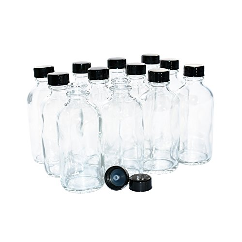 (Pack of 12) 4 oz. Clear Boston Round with Black Poly Cone Cap (22/400) (Small Glass Bottle)