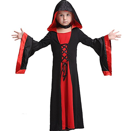 Hocus Pocus Witch Costumes Pattern (C360 Girls Witch Costume Set Fairy Halloween Cosplay Party Fancy Dress (M, red))