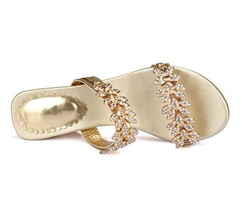 Ponerse Verano Gold Punta Abierta Tamaño Zapatos 10 Bajo Fornido Bloquear Fiesta Señoras 3 Vestir Tacón Slingback Sandalias Zapatillas Mujer UXAY4qn