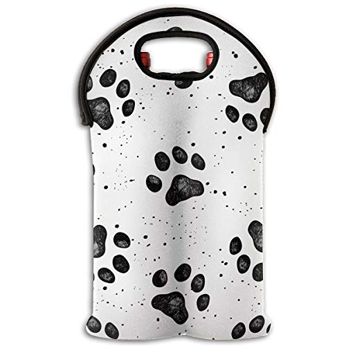 (LeYue 2-Bottle Neoprene Wine/Water Bottle Tote Bag Dog Paw Prints Thermal Wine Bottle Carrying Cooler Carrier For Travel, Picnic, Perfect Gift For Wine Lover)