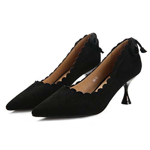 Tip Wild Shoes Shoes Followed Single Spring MDRW Black Shoes Port Heeled High Light Lace Elegant Tie Work Leisure Sweet Fine 5Cm Lady 6 Bow Women OFnHgO8