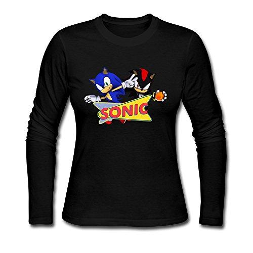 TBTJ Sonic The Hedgehog Long Sleeve Tee Shirts For Women Black Small (Female Sonic The Hedgehog)