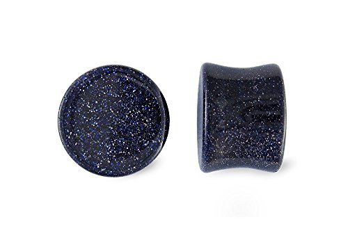 Scrap Metal 23 Pair Blue Goldstone Glass Plugs 00g 00 Gauge 10mm