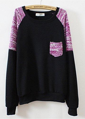 Luna et Margarita Mujer sudor impreso con detalle suéter de punto de lana pecho de tejer Negro