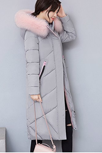 Outerwear Down Hooded Grey Warm Lined Women Casual Winter Puffer Parkas Coats OqFTnw7xz