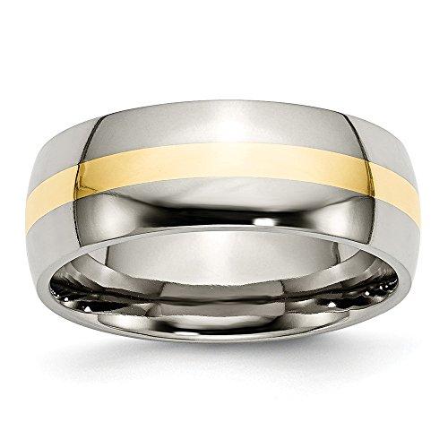 Chisel Titanium Engravable 14k Gold Inlay 8mm Polished Band Ring - Size 10.5