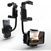 Car Mount Holder Cell Phone Stand 360 Degree Car Rearview Mirror Mount Truck Auto Bracket Holder Cradle for iPhone 7/6/6s plus, Samsung Galaxy S7/S7 edge, GPS / PDA / MP3 / MP4 devices (Black)