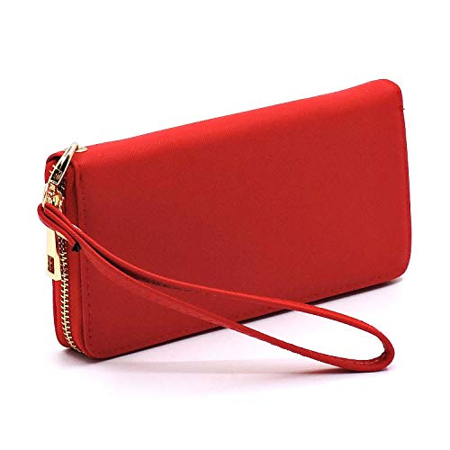 (Classic simple zip around wallet with wristlet (Red))