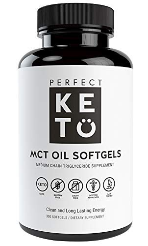 Perfect Keto MCT Oil Softgels   300 Coconut Oil Capsules   Ketogenic Ketosis Diet Supplement   Caprylic Acid (C8) & Capric Acid (C10) Medium-Chain Triglycerides   Octane for Brain for Women or Men by Perfect Keto