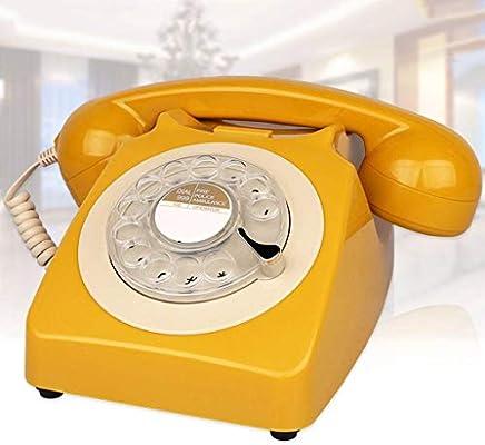 Vintage Teléfono Antiguo,Estilo Americano Retro Teléfono Oficina Hogar Creativa Disco Giratorio Moda Sobremesa TeléFono Fijo con Mecánica Tonos De Llamada Rellamada Función-A: Amazon.es: Electrónica