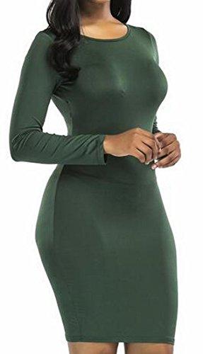 Lunga Domple Sottile Backless Nerastro Manica Vestito Partito Sexy Mini Bodycon Donne Tratto Delle Verde gqwZwEAn