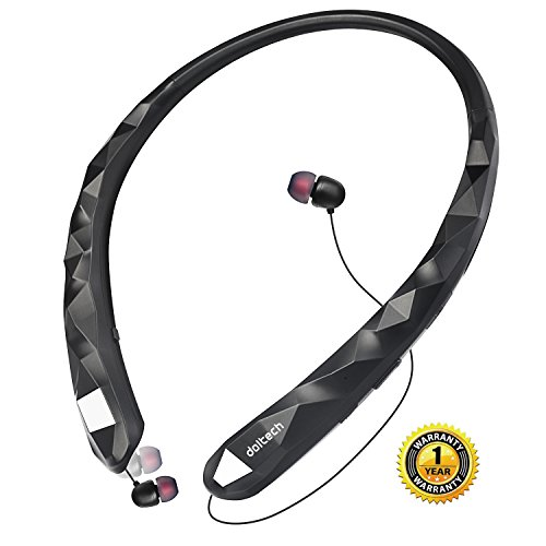 Bluetooth Headphones DolTech Wireless Headphones with Retractable Earbuds Neckband Headset with Mic Sport Sweatproof Stereo Earphones (16 Hours Work Time, Noise Cancelling, Bluetooth 4.1) (Black)