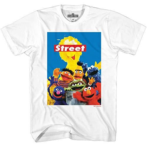 Sesame Street Group Oscar Elmo Cookie Big Bird Bert Ernie Grover Classic Vintage Retro Mens Adult T-Shirt (White, Large)