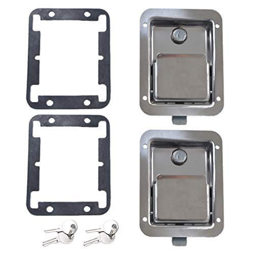 Homyl 2 x Stainless Steel Tool Box Motorhome Entry Dead Bolt Lock Latch&Key&Gasket
