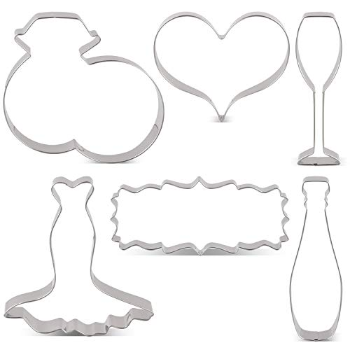 LILIAO Wedding Cookie Cutter Set for Anniversary/Bridal/Engagement - 6 Piece - Wedding Diamond Rings, Heart, Wedding Dress, Plaque, Champagne and Champagne Glass Fondant Cutters - Stainless Steel