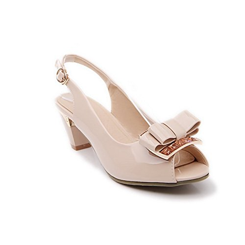 1TO9 Womens Spun Gold Bowknot Peep-Toe Patent Leather Sandals Beige nxWkg