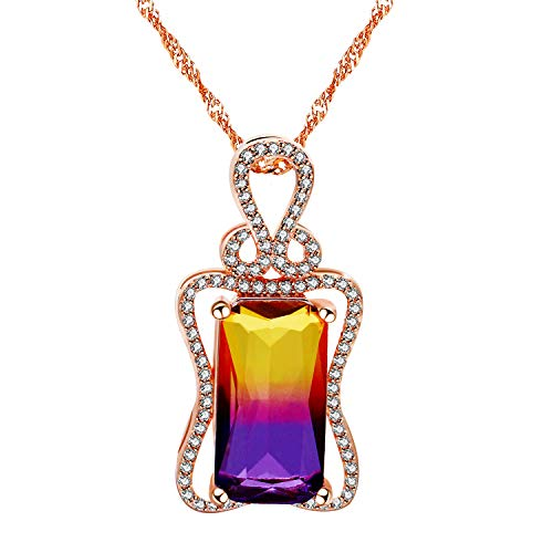 (Uloveido Charm Created Rectangle Purple Gradient Tourmaline Pendant Siberite October Birthstone Necklace Rose Gold Plated Birthday Jewelry Gifts for Women Girls DN401)