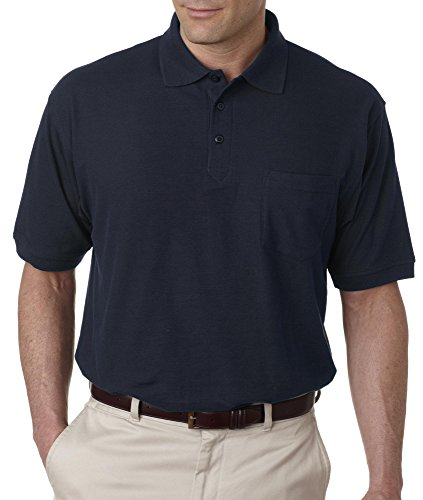 ULTRACLUB Adult Whisper Pique Polo with Pocket>6XL Navy 8544