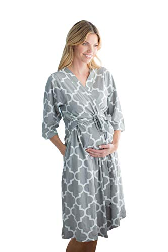 Baby Be Mine Maternity/Labor/Nursing Robe Hospital Bag Must Have (L/XL pre Pregnancy 12-18, Phoebe)